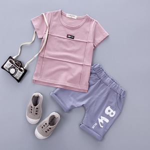 Children Short Sleeve Suit 2017 Summer Korean Boys 1-2-3-4 year Old Female Baby T shirt Shorts Two sets