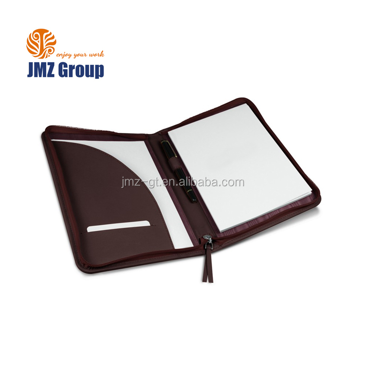 Zippered Padfolio Portfolio Organizer, Professional PU Leather Folder for Business and Interview with Resume and Notepad
