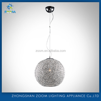 2016 high quality aluminium wire E27 pendant lamp with crystal for modern home decoration