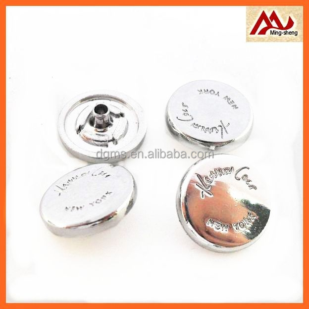fancy round shiny silver metal ring snap buttons