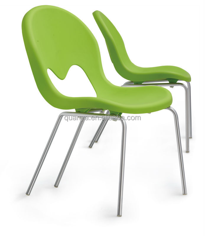 ergonomic plastic seat metal legs fresh color dining chairs