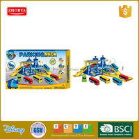Kids plastic DIY parking lot toy tayo railway parking set parking lot with freewheel car plastic material toys