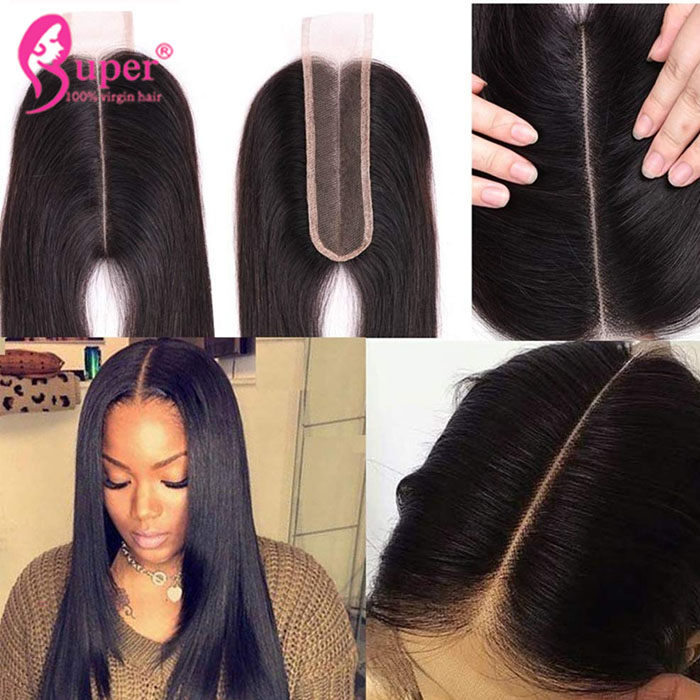 Brazilian Virgin Human Body Wave 2x6 Deep Middle Part Top Lace Closure With Baby Hair