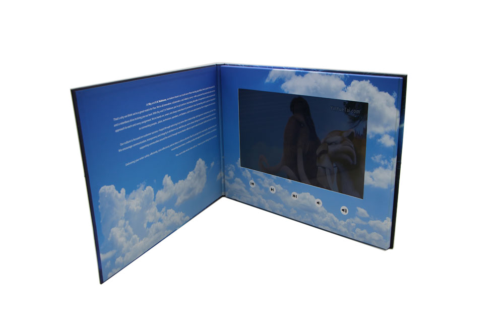 A4 hardback video brochure 10.1inch media advertising display