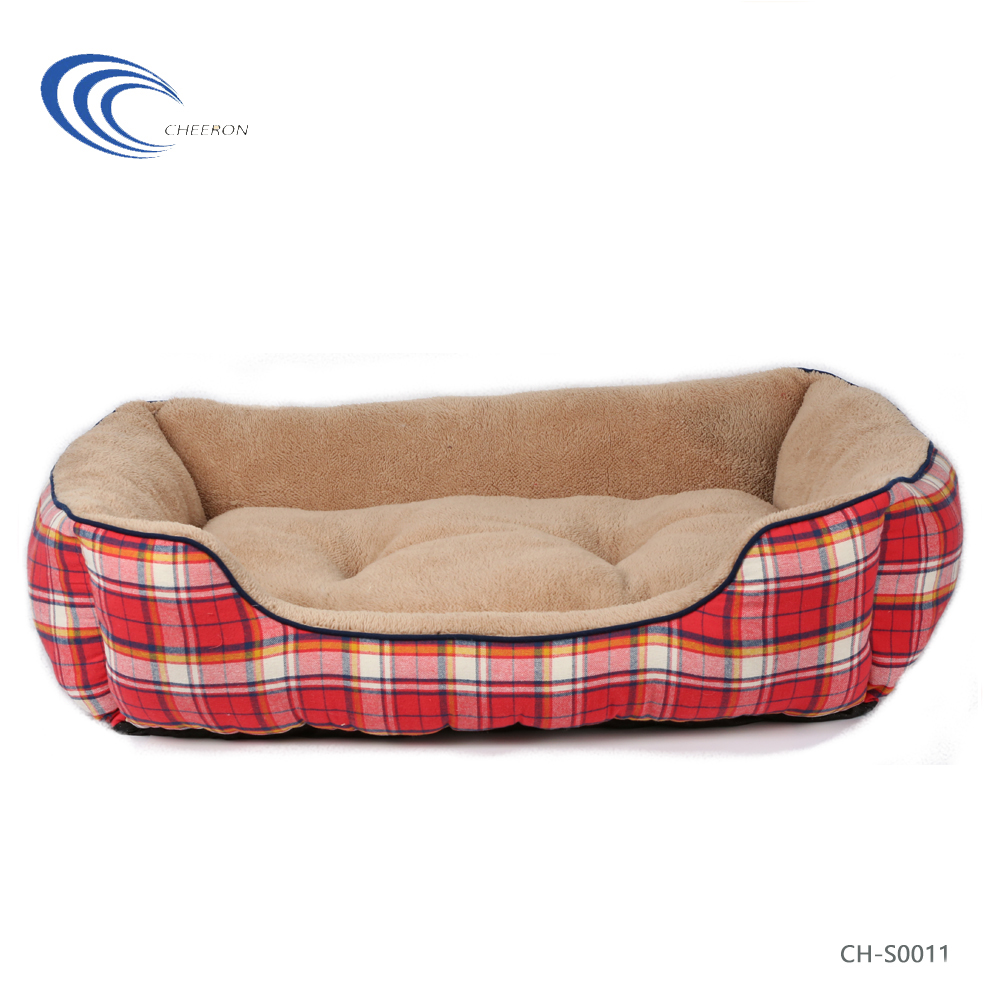 Custom high quality fashionable luxury soft lattice plush pet bed dog bed