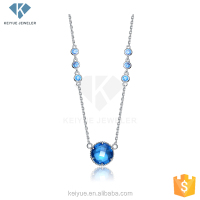 2016 promotional gold plated 925 silver water blue stone necklace jewelry