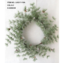"24""""Artificial Green Glitter Pine Branches with Christmas Decorative Wreath"