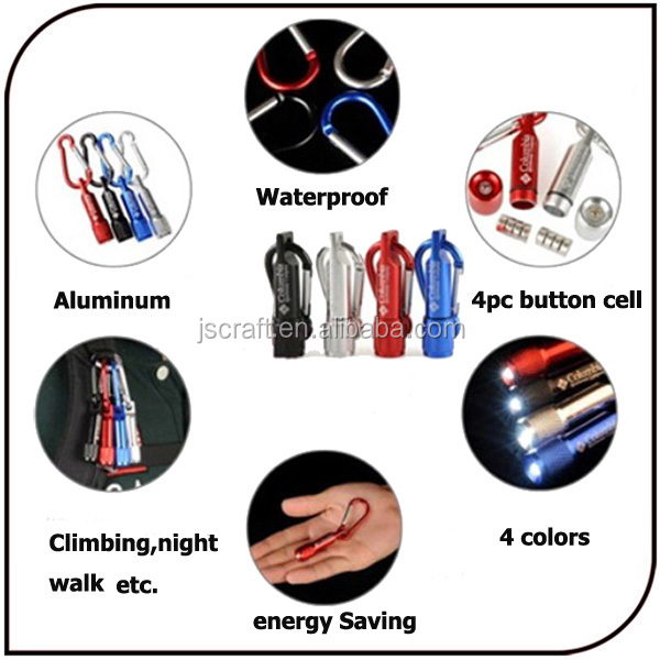 Promotion Columbia flashlight Aluminum Keychain Battery Climbing Button Carabiner Mini Torch Light