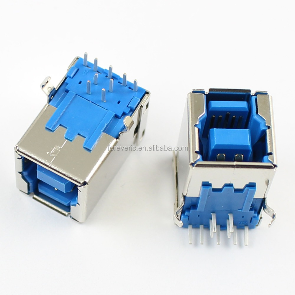 USB 3.0 Female B Type 9 Pin DIP Right Angle PCB Connector For Printer Port