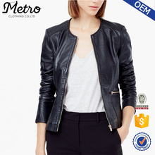 OEM Brand Women Black Zip Up MOTO Biker Leather Jacket