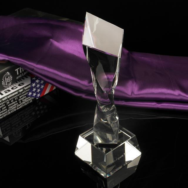 New design twisted column shape crystal plaque glass award trophy