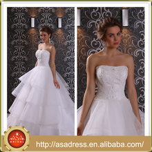 LBSS01 Romantic Big Ruffle Ball Gown Wedding Bridal Gown Strapless Full Length Alibaba Wedding Dress with Cathedral Train