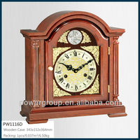 Mechanical table clock with CE/FCC/ISO Wooden case power sweep movement Competitive price PW1116D