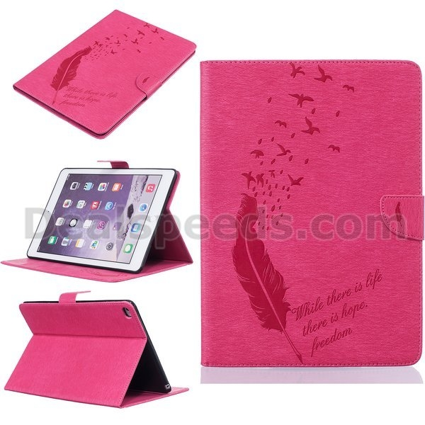 Feather and Birds Embossed Card Holder TPU+ PU Leather Case for iPad Air 2