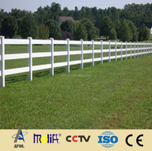 3 rail white color plastic pvc horse fence