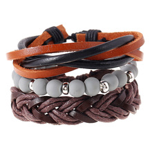 Hot Selling Leather Bracelets Sets DIY Multilayered Braided Beads Brown Leather Wrap Bracelet For Men