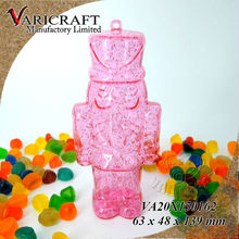 Christmas decoration in glittery pink plastic nutcracker soldier shaped ornament