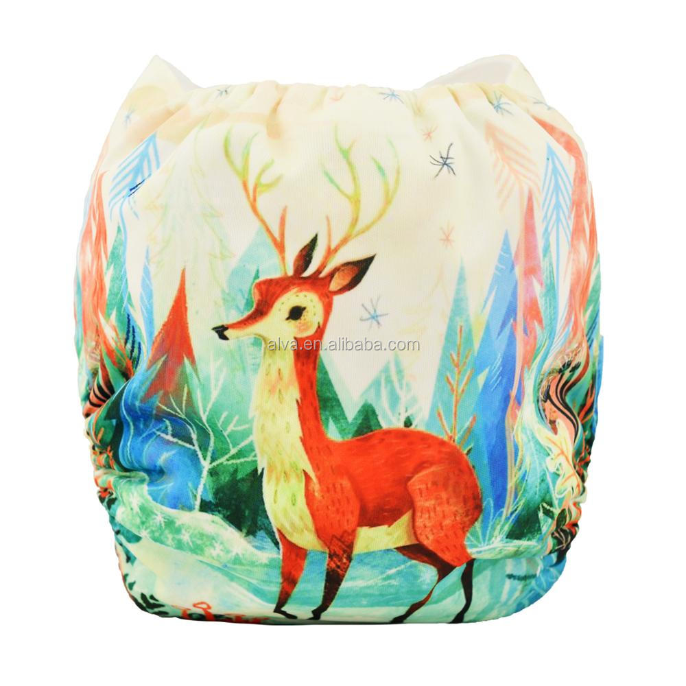 Alvababy Deer Pattern Digital Printed Ecological Diapers Wholesaler of Cloth Nappy