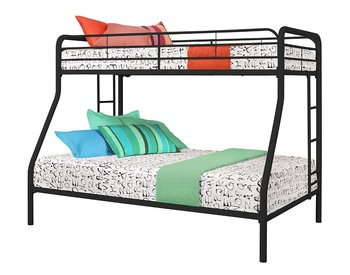 Twin-Over-Full Bunk Bed with Metal Frame and Ladder (Black)