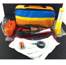 004 Car emergency security kit safety hammer tow rope dot gloves electrical tape battery cable portable reflective
