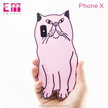 Cute cat cartoon rubber 3d silicon cell phone cover for iphone x pink silicone case
