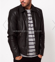 Men's 100% soft leather stand collar jacket