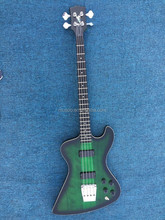 Musoo brand electric guitar custom Bass Guitar with neck-thru ebony fingerboard in Green