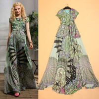 Bohemian Dress 2015 Wholesale Brand Name Abstract Painting Woman Short Sleeve Floor-length Summer Long Dress For Beach