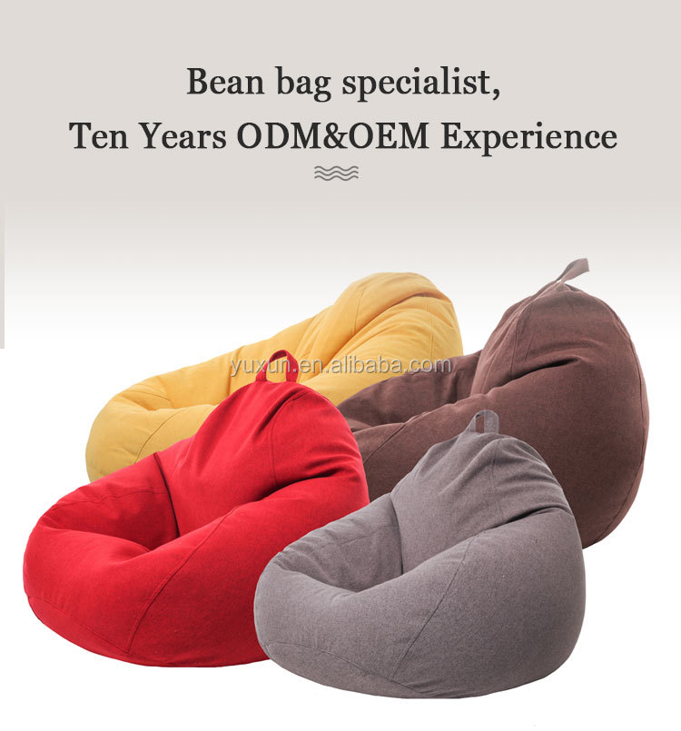 Modern custom massive indoor adult soft lien fabric xxxl bean bag cover large chair reclining furniture gaming bean bags seats