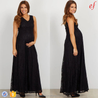 Pregnant Ladies Party Clothes Black Lace V Neck Sleeveless Maternity Evening Dress