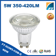 ErP/CE/RoHS Glass heatsink 5W COB GU10 Dimmable led spot light bulb