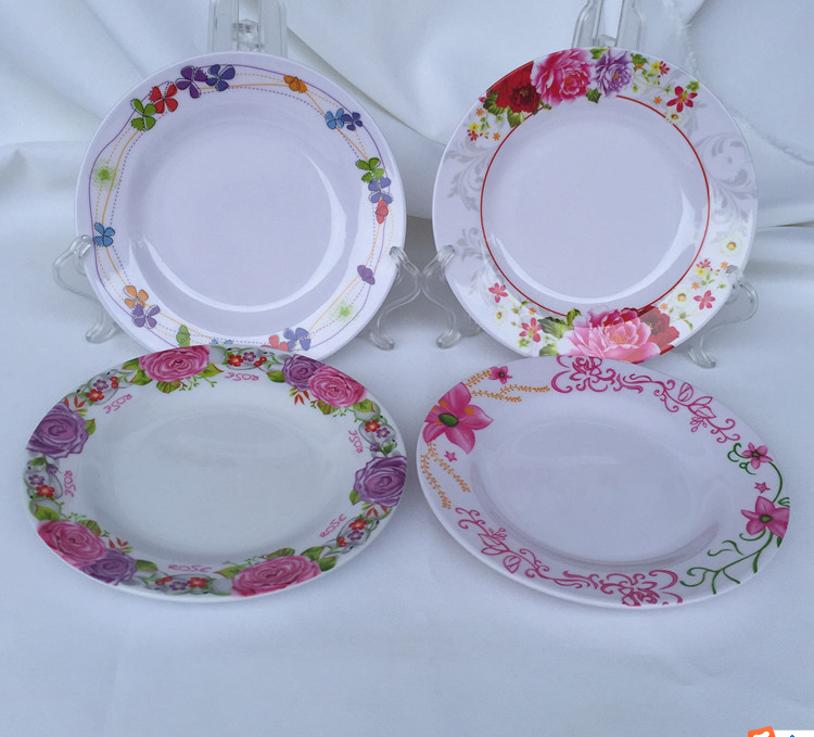 "hot selling 7"" melamine round flat <strong>plate</strong> with four mixed design"
