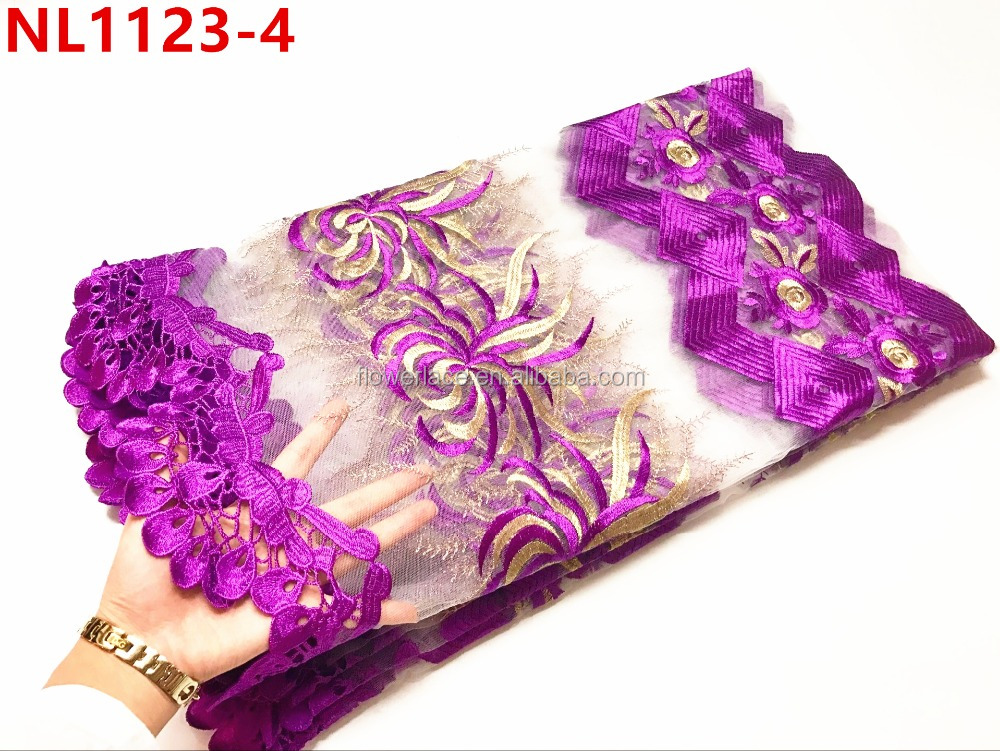 new come african lace design with beautiful design in purple