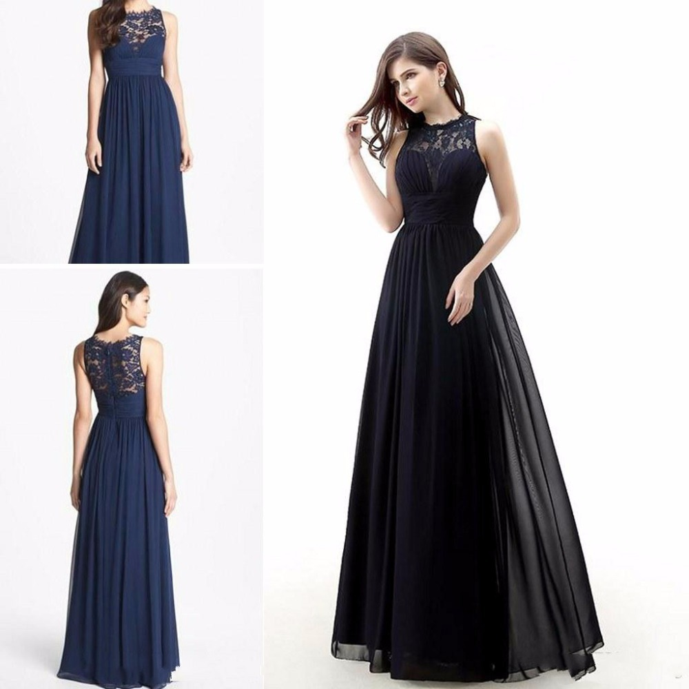 Buy dab2927 dark navy blue bridesmaids dresses 2015 long chiffon buy dab2927 dark navy blue bridesmaids dresses 2015 long chiffon jewel neck lace bridesmaid dress sheer back designs in cheap price on alibaba ombrellifo Choice Image