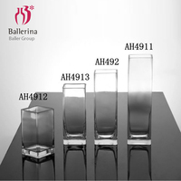 BALLERINA Brand China High Quality ECO Glass Art Crafts Wholesale Clear Square Glass Vases