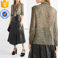 Leopard Printed Silk Shirt Women Apparel Wholesaler Garment Clothing