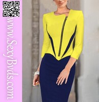 Wholesale yellow shoulder padded ladies designer office dresses women work wear