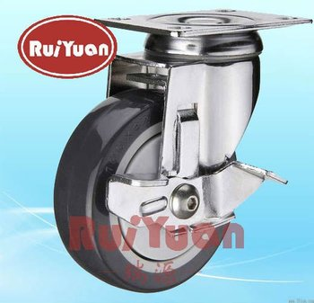 Plastic on PU wheel Side brake stainless steel caster