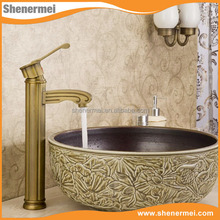 Brass main body and zinc alloy handle single handle high neck pedestal basin faucet