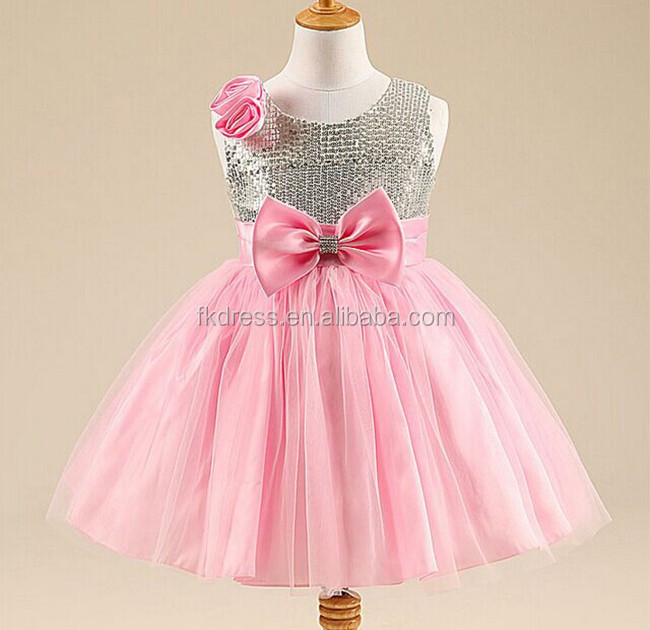 2016 Fashion Girls pink Bow Trendy Flower Girls Christmas Dress Girls Summer Birthday Party Flower Princess Dress 3-12y