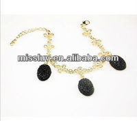 2013 Helloween modern party bracelet with black crystal,popular vampire personality link bracelet,Ethnic gold flower bracelet