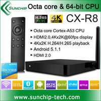 sunchip cx-r8 Android 5.1 LOLLIPOP TV Box RK3368 Cortx-A53 Octa Core 1G+8GB 4K Smart Media Player Support BT4.0,H.265,4Kx2K