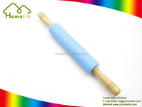 New color wholesale wooden handle colorful silicone pastry rolling pin