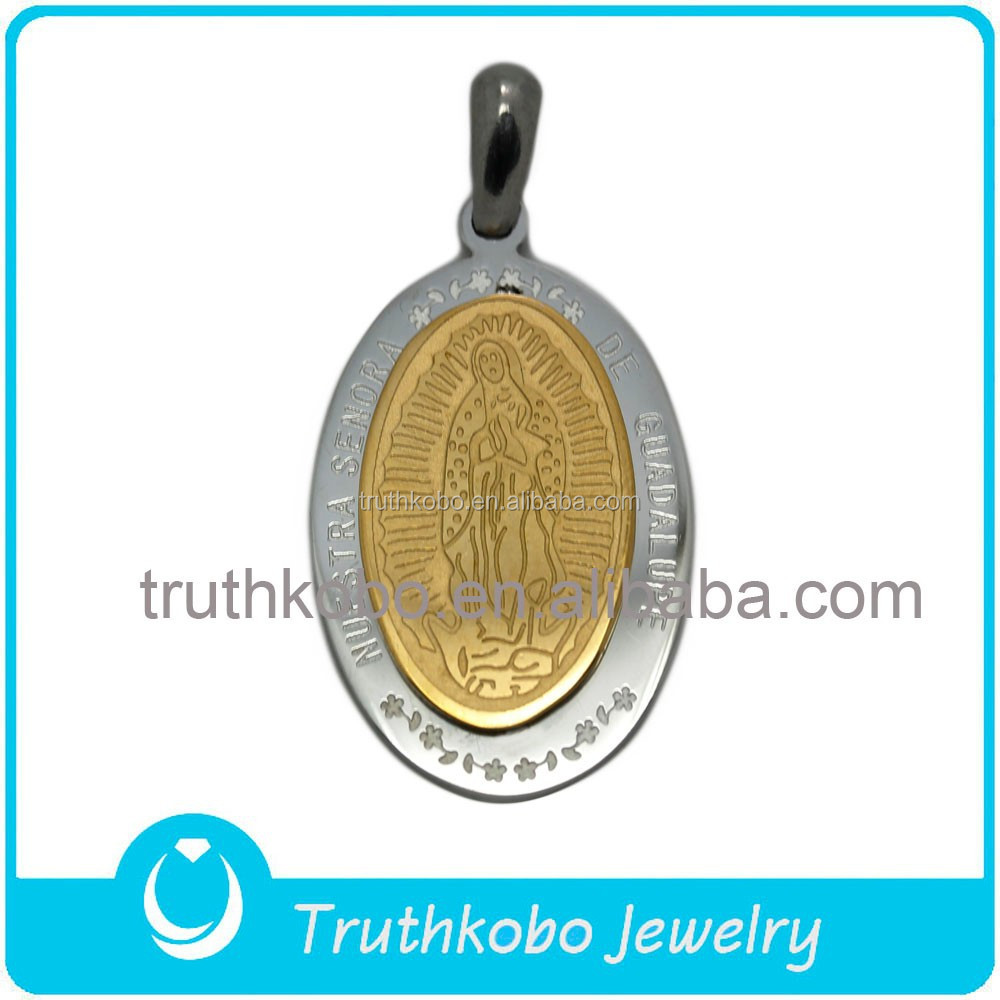 Christianity Jewelry Gold Color Two Layers Nuestra Senora de Guadalupe Pendant Religious Accessories