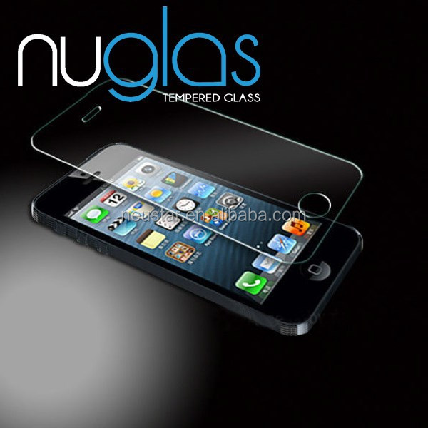 Nuglas Clear Anti-shock 9H 2.5D Cell Phone/Mobile Phone lcd display Premium tempered glass screen protector for iPhone 5 5c 5s