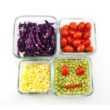 FDA&LFGB Reusable Different Size Square Glass Storage Food Container With Multicolored PP Lid