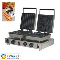 Automatic double head lolly waffle maker round making machine