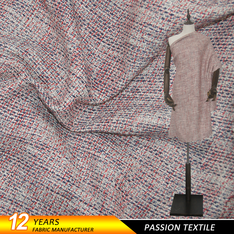 Fancy yarn knitted tweed fashionable gorgeous women's poly wool <strong>fabric</strong>