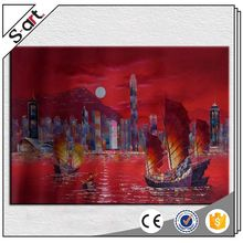Custom made newly design city night landscape oil painting