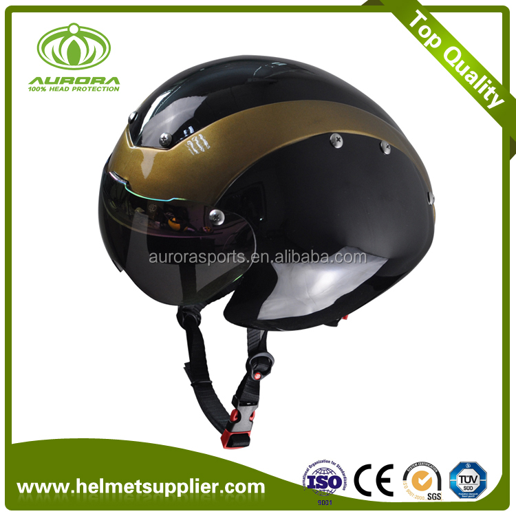 CE 1078 approval Hot sale high quality tt aero waterdrop helmet, time trial bike helmet with PC goggle